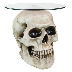 Lost Souls Gothic Skull Glass-Topped Table: Bone