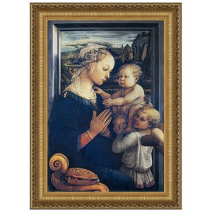 Madonna and Child with Two Angels, c. 1465: Canvas Replica Painting: Medium