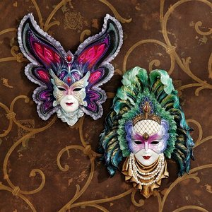 Maidens of Mardi Gras Wall Mask Sculptures: Butterfly & Peacock