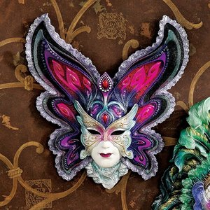 Maidens of Mardi Gras Wall Mask Sculpture: Butterfly Maiden