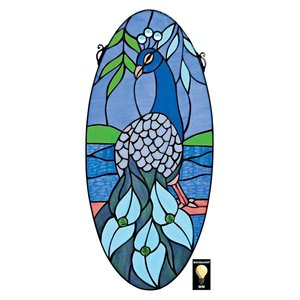Majestic Peacock Oval Stained Glass Window