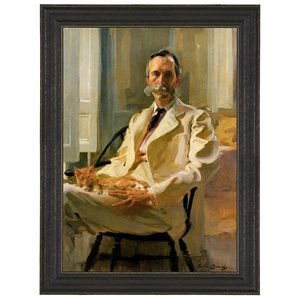 Man with Cat, 1898: Canvas Replica Painting: Small