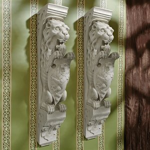 Manor Lion Wall Sculpture: Set of Two