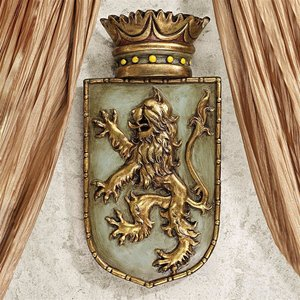 Medieval Rampant Lion Shield Wall Sculptures