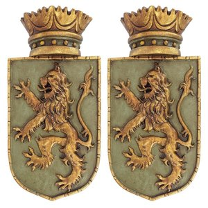 Medieval Rampant Lion Shield Wall Sculptures: Set of Two