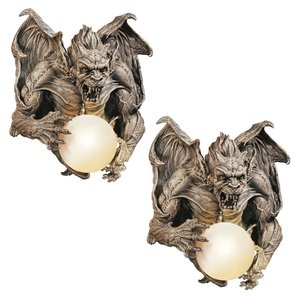 Merciless the Gargoyle Lighted Wall Sculpture: Set of Two