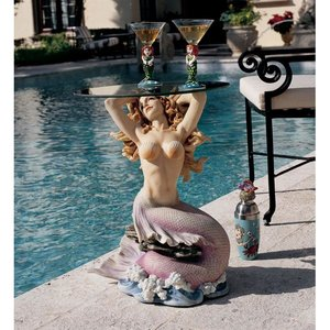 Mermaid of Magellan's Cove Glass-Topped Sculptural Table