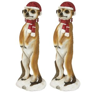 Merry Meerkat Holiday Greeter Statue: Set of Two