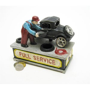 Model T at the Service Station Authentic Foundry Cast Iron Mechanical Bank