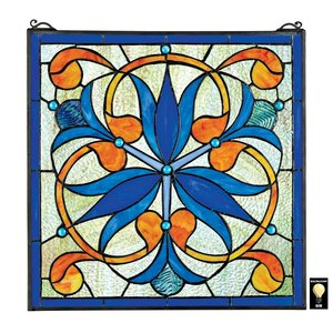 Mokara Orchid Trefoil Floral Stained Glass Window