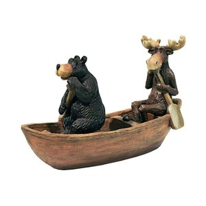 Moose and Black Bear in a Boat Statue