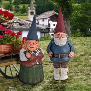 Mother Father Garden Gnome Statue Set
