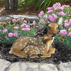 Mother's Love Doe and Fawn Statues