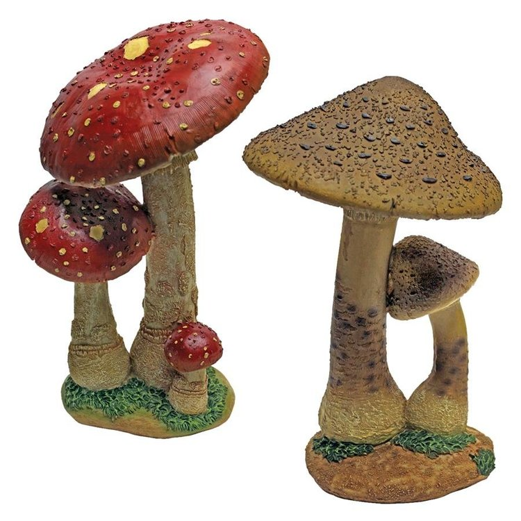 View larger image of Mystic Forest Red and Tan Mushroom Statue: Set of Two