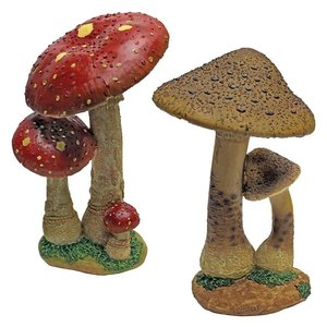 Mystic Forest Red and Tan Mushroom Statue: Set of Two