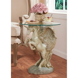 Mystical Winged Unicorn Sculptural Glass-Topped Table