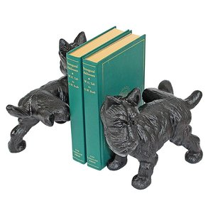 Naughty Peeing Scotty Dog Cast Iron Sculptural Bookend Pair