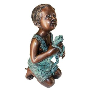 New Friend Boy with Frog Bronze Statue