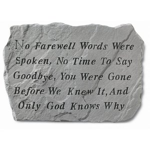 No Time To Say Goodbye Cast Stone Pet Memorial Statue: Large