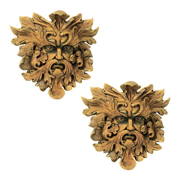 View larger image of Oak King Greenman Wall Sculptures: Set of Two