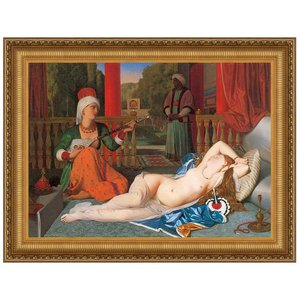 Odalisque with Slave, 1842: Canvas Replica Painting: Small