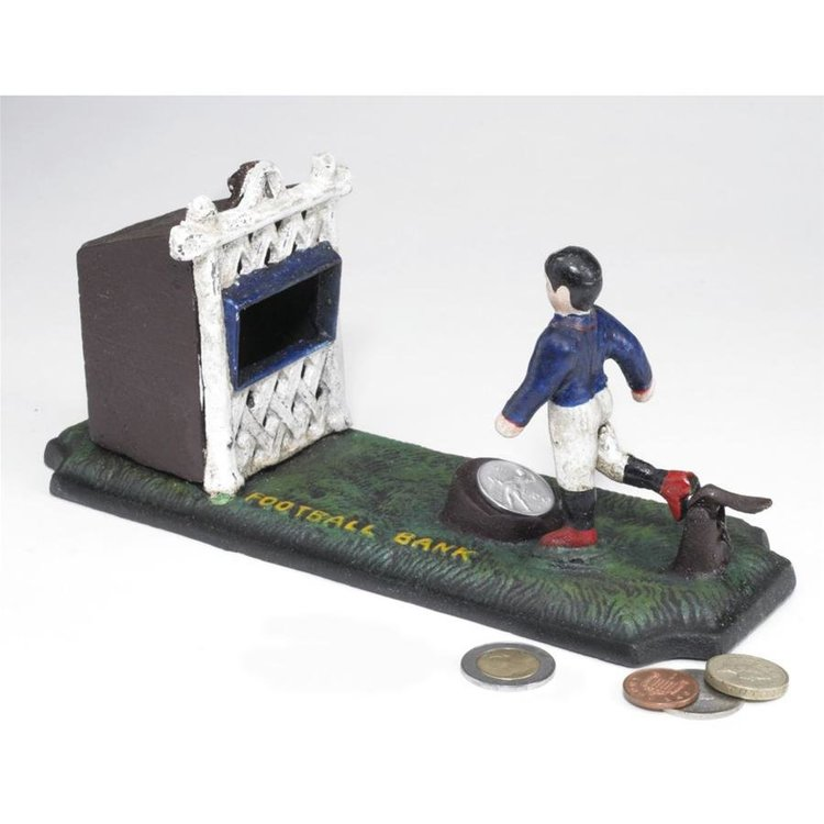 View larger image of Old-Fashioned Footballer Authentic Foundry Iron Mechanical Bank
