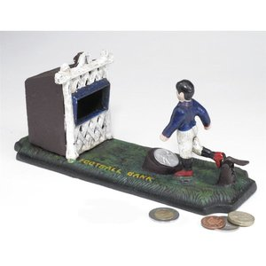 Old-Fashioned Footballer Authentic Foundry Iron Mechanical Bank