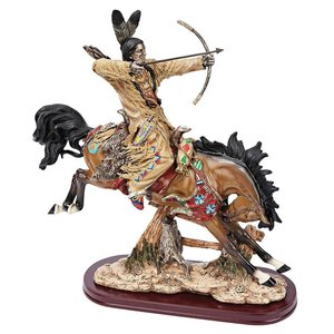 On Hunt Native American Horse Statue