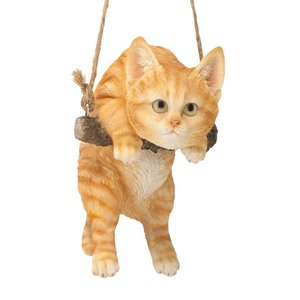 Orange Tabby Kitty on a Perch Hanging Cat Sculpture