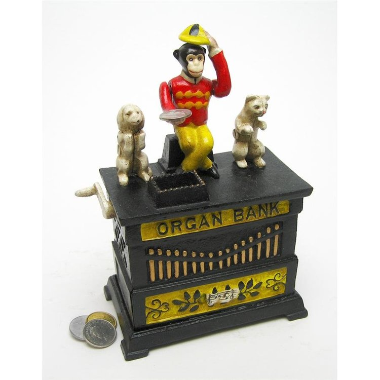 View larger image of Organ Grinder's Performing Monkey Authentic Foundry Iron Mechanical Bank