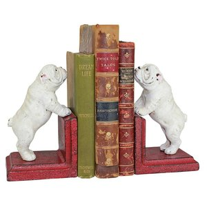 Over the Fence Bulldog Cast Iron Sculptural Bookend Pair