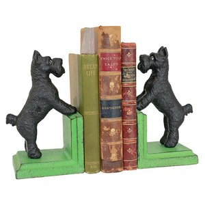 Over the Fence Scotty Dog Cast Iron Sculptural Bookend Pair