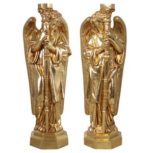Padova Golden Guardian Angel Religious Statues: Large Set of Two Left and Right