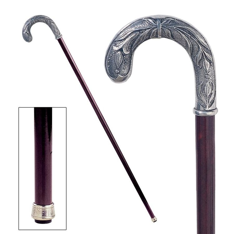 View larger image of The Padrone Collection: Crook Handle Pewter Walking Stick