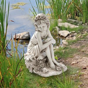 Pausing by the Pond Little Girl Garden Statue