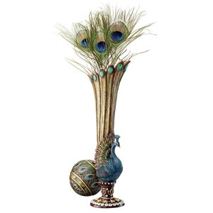 Peacock Bud Vase: Set of Two