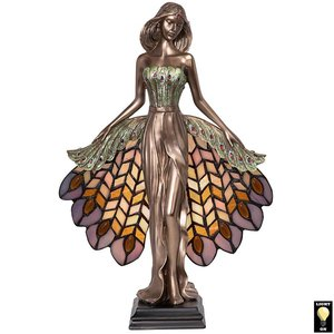 Peacock Priestess Tiffany-Style Stained Glass Illuminated Sculpture