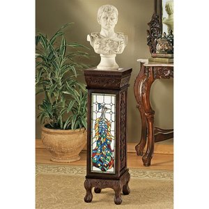 Peacock Stained Glass Illuminated Hand-Crafted Pedestal