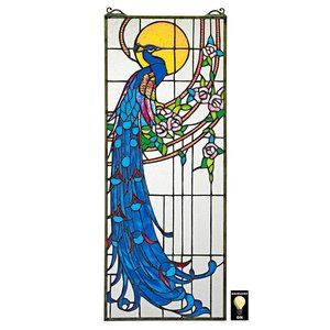 Peacock Sunset Stained Glass Window