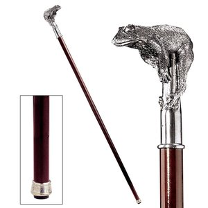 The Padrone Collection: Perching Frog Pewter Walking Stick