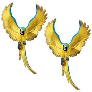 Phineas the Flapping Macaw Bird Wall Sculpture: Set of Two