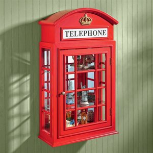 Piccadilly Circus British Telephone Booth Wall Curio Cabinet