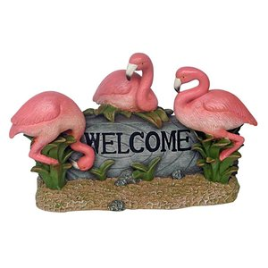 Pink Flamingo Welcome Statue
