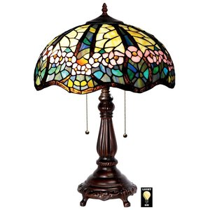 Pink Primrose Tiffany-Style Stained Glass Lamp