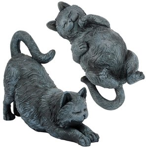 Playful Cats Statue Collection: Set of Two
