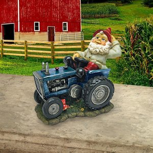 Plowing Pete on His Tractor Garden Gnome Statue