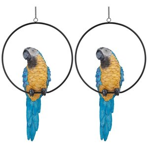 Polly in Paradise Parrot Sculpture on Ring Perch Large: Set of Two