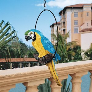 Polly in Paradise Parrot Sculpture on Ring Perch: Medium