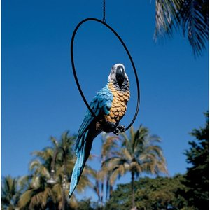 Polly in Paradise Parrot Sculpture on Ring Perch