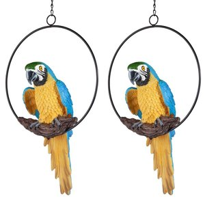 Polly in Paradise Parrot on Ring Perch: Medium, Set of Two